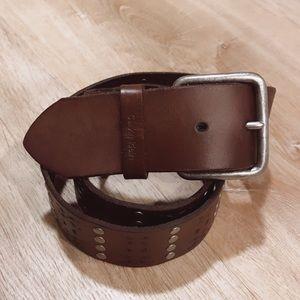 Calvin Klein  Brown studded Leather Belt
